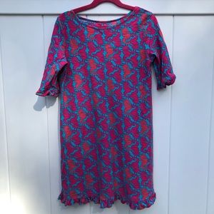 Lilly Pulitzer Girls Dress-Seahorse Pattern-Size L